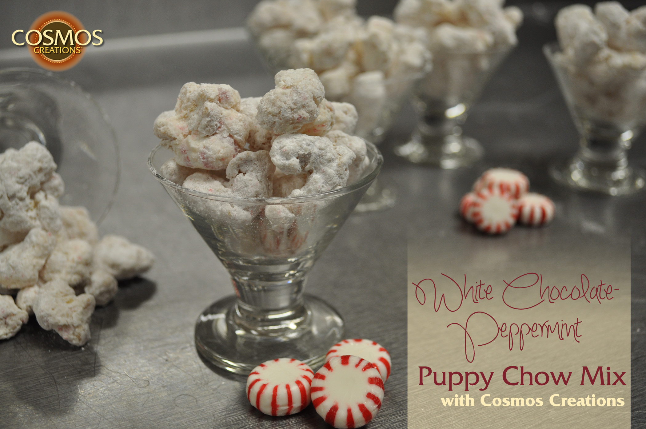 White Chocolate Peppermint Puppy Chow with Cosmos Creations